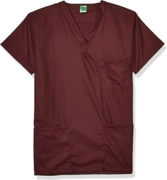 Fashion Seal Healthcare Men's Tall Size Unisex Raisin Simply SFT 3Pkt Scrub Shrt S LON