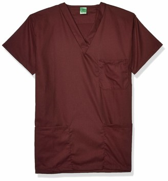 Fashion Seal Healthcare Men's Unisex Raisin Simply SFT 3Pkt Scrub Shrt X-Small REG