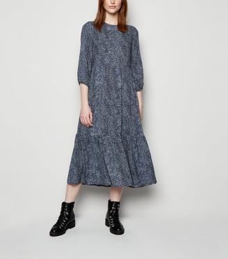 New Look Tall Animal Print Tiered Smock Midi Dress