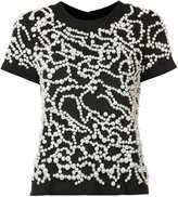 Vera Wang pearl embroidered T-shirt - women - Cotton/Nylon/plastic - S