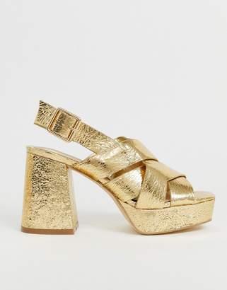 Head Over Heels By Dune Manda metallic gold chunky flatform going out heeled sandals