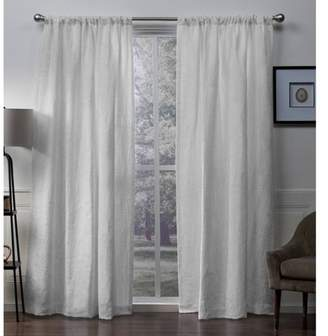 Exclusive Home Elle Heavyweight Floral Scroll Chenille Jacquard Room Darkening Rod Pocket Window Curtain Panel Pair - Exclusive Home