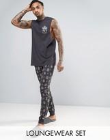 Asos Pyjama Set With Storm Print & Embroidery
