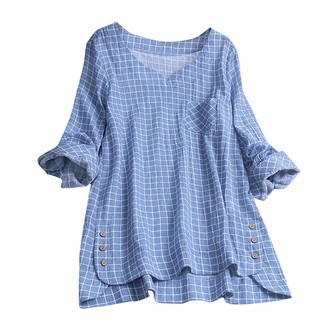 Kobay Women Kobay-women Casual Plaid Button Plus Size Cotton Tops Comfortable Loose Blouse Vintage Tee T Shirt(Navy XXXXX-Large)