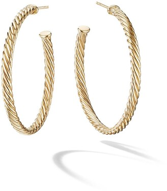 David Yurman 18kt yellow gold medium Cablespira hoop earrings