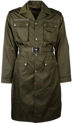 Prada Belted Logo Plaque Trench Coat