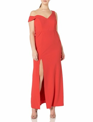 ABS by Allen Schwartz Women's Plus-Size Sleeveless Asymmetric Off Shoulder Gown