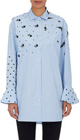 Valentino Women's Embellished Fine-Striped Cotton Blouse