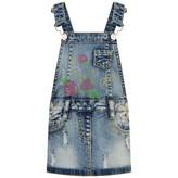 Miss Blumarine Miss BlumarineBaby Blue Distressed Dungaree Dress With Studs