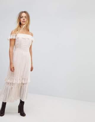 Vero Moda Ruffle Maxi Dress-Cream