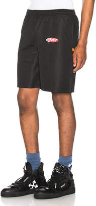 Off-White Off White Split Logo Mesh Shorts in Black | FWRD