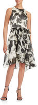 Carmen Marc Valvo Tiered Skirt Silk Floral Cocktail Dress