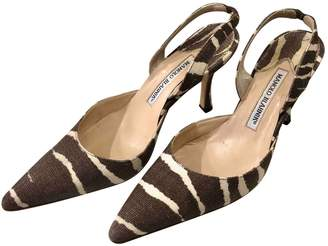 Manolo Blahnik Brown Cloth Heels