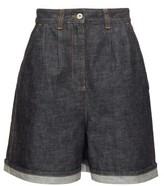 Loewe High-rise Wide-leg Denim Shorts - Womens - Indigo