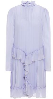 See by Chloe Metallic-trimmed Ruffled Silk-georgette Mini Dress
