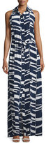 Trina Turk Modern-Print Sleeveless Silk Maxi Shirtdress