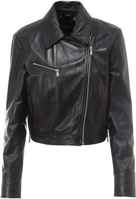 Sportmax Code Asymmetric Zip Leather Jacket