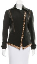 Roberto Cavalli Leather-Accented Wool Jacket