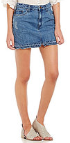 Free People Step Up Released Hem Denim Mini Skirt