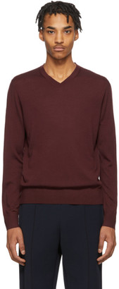Ermenegildo Zegna Burgundy Knit V-Neck Sweater