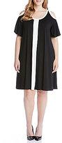 Karen Kane Plus Colorblock Cold Shoulder Dress