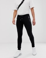 Asos Design DESIGN super skinny joggers with zips in black