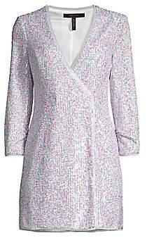 BCBGMAXAZRIA Women's Short Sequined Evening Dress