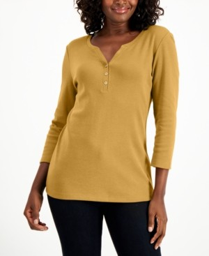 Karen Scott Cotton 3/4-Sleeve Henley Top, Created for Macy's