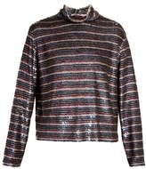 Ashish Roll-neck striped sequin-embellished silk top