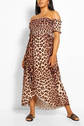 boohoo Plus Leopard Print Off Shoulder Maxi Dress