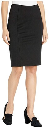 Liverpool Reese High-Rise Pencil Skirt in Stretchy Stripe Knit (Black) Women's Skirt