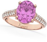 Allurez (4.42ct) 18k Rose Gold Oval Cut Sapphire and Diamond Engagement Ring
