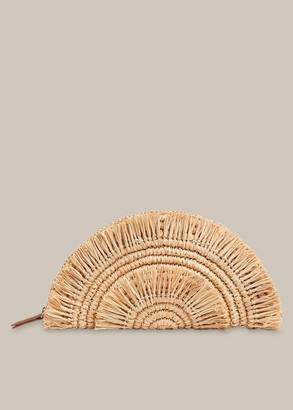 Santino Fringe Straw Clutch