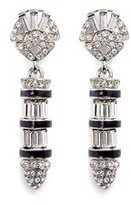 Kenneth Jay Lane Enamel bullet drop glass crystal clip earrings
