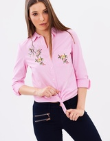 Dorothy Perkins Stripe Embroidered Shirt