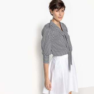 La Redoute Collections Striped Blouse with Pussy Bow