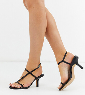 Raid Wide Fit Aadhya strappy heeled sandals in black croc