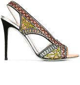 Rene Caovilla embellished sandals - women - Leather/Nylon/Kid Leather/glass - 37