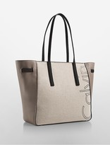 Calvin Klein Outline Logo East/West Linen Tote