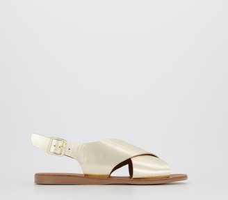 Office Seychelles Cross Strap Sandals Gold Leather