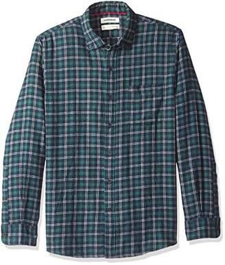 Goodthreads Standard-fit Long-sleeve Plaid Brushed Heather Shirt, Bleu (navy green, US (EU XS)