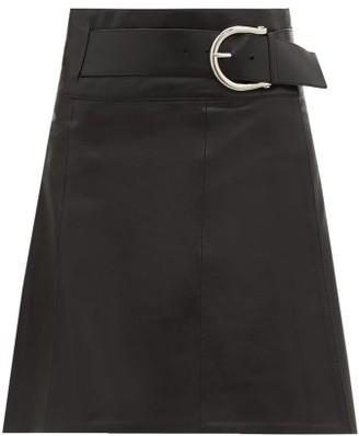 Dodo Bar Or Estelle Belted Leather Wrap Skirt - Womens - Black