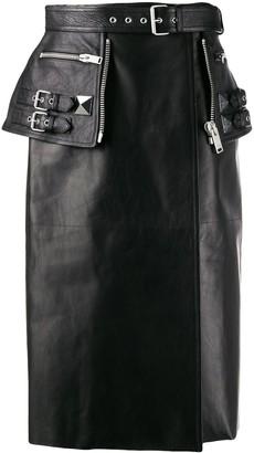 Alexander McQueen Biker-Style Midi Skirt