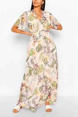 boohoo Tropical Print Wrap Front Maxi Dress