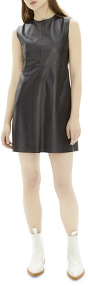 Helmut Lang Crewneck Open-Back Mini Leather Dress