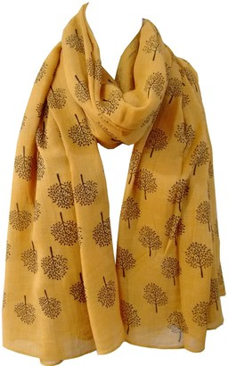 Generic Mulberry Tree Print Scarf Womens Lightweight Fashion Large Wrap (Mustard Yellow)
