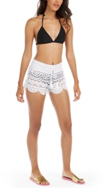 Miken Juniors' Scalloped Lace Cover-Up Shorts, Created for Macy's Women's Swimsuit