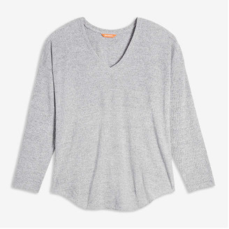 Joe Fresh Women+ V-Neck Rib Sweater, Pale Purple (Size 1X)