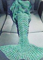Holidayli Mermaid Tail Blanket for Adults Women Girls Teens, Handmade Crochet Mermaid Blankets, Soft Birthday Valentine's gift 74''x35'' Mint Green