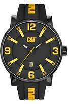 Caterpillar Cat Bold 46mm Men's Quartz Watch with Black Dial Analogue Display and Black Silicone Strap NJ.161.21.137